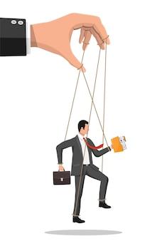 Biznesmen marionetka wisi na linach. ręka lalkarza trzymającego człowieka biznesu na smyczy. lalkarz, nadużycie władzy, manipulacja. ilustracja wektorowa w stylu płaski