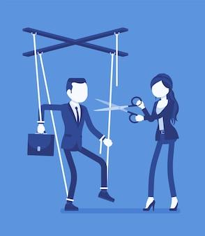 Biznesmen marionetki wolny od ucisku. wyzwolenie mężczyzny, facet cieszący się dobrami osobistymi po wpływie, kontroli, kobieta przecinająca nożyczkami sznurki lalki. ilustracja wektorowa, postacie bez twarzy
