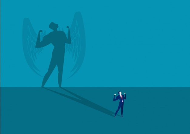 Biznesmen marzy o byciu super lidera cienia pojęcia wektorem