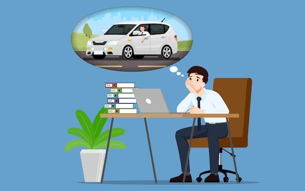 Biznesmen marzy o zakupie nowego pięknego i nowoczesnego samochodu.