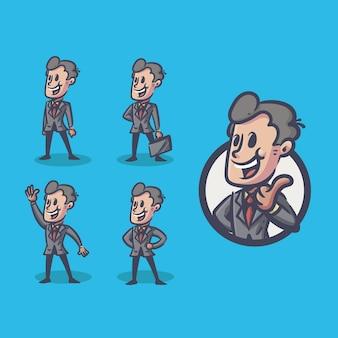 Biznesmen maskotka charakter retro