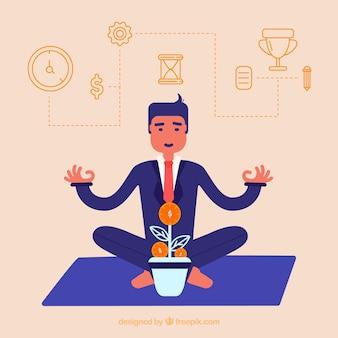Biznesmen medytacji koncepcji tła