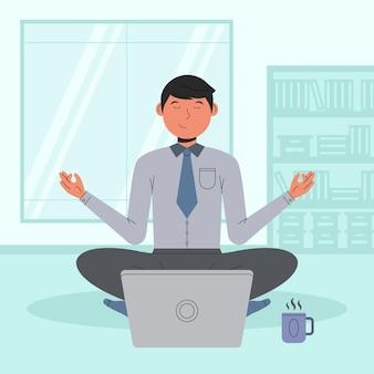 Biznesmen medytacji płaska ilustracja