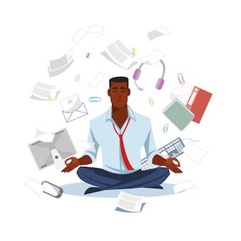 Biznesmen medytuje dostawać spokojnego płaskiego wektor