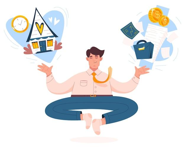 Biznesmen medytuje na harmonię lub dobre samopoczucie.