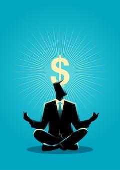 Biznesmen medytuje z symbolem dolara oświecenia
