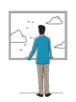 Biznesmen, Mężczyzna Apartament, Patrząc Przez Okno Dla Relaksu Premium Wektorów