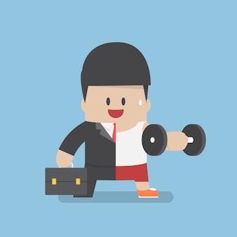 Biznesmen między trybem pracy a ćwiczeniem