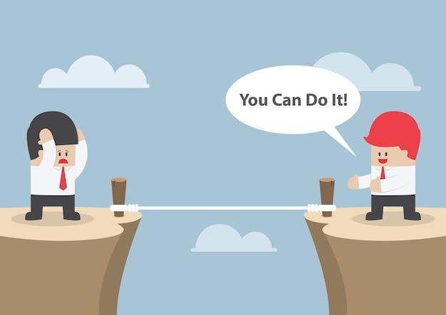 Biznesmen motywować swojego przyjaciela