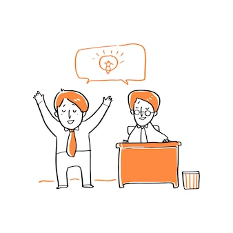 Biznesmen mówi o ilustracji pomysł