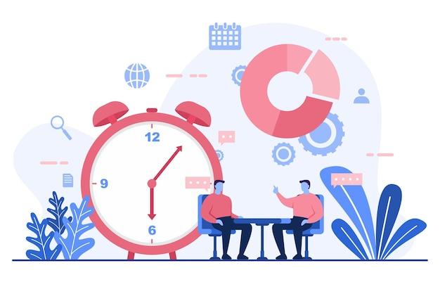 Biznesmen mówi strategia biznesowa zarządzania czasem