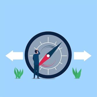 Biznesmen myli się podążać za kierunkiem kompasu.