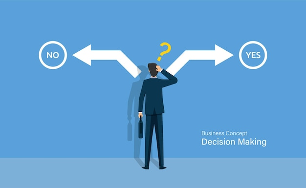 Biznesmen myli wybór między tak lub nie, koncepcja podejmowania decyzji