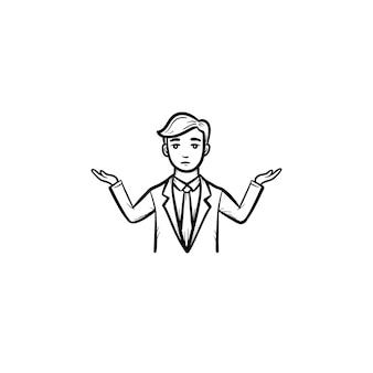 Biznesmen mylić ręcznie rysowane konspektu doodle wektor ikona. człowiek w zamieszaniu szkic ilustracji do druku, sieci web, mobile i infografiki na białym tle.