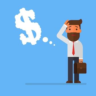 Biznesmen myśleć o pieniądze w kostiumu