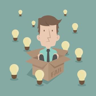 Biznesmen myślenia wewnątrz pudełka