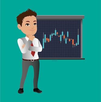 Biznesmen myśli i analizuje wykres wykresu giełdowego