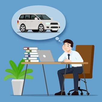 Biznesmen myśli lub marzy o zakupie nowego pięknego, nowoczesnego samochodu.