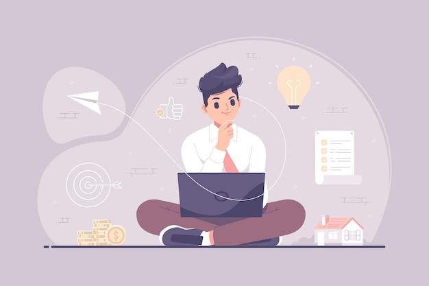 Biznesmen myśli o kreatywnych pomysłach ilustracji