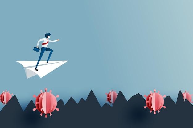 Biznesmen na białym papierze latającym samolotem przezwyciężyć lub przeszkodę do celu sukcesu. kryzys biznesowy i finansowy z koronawirusa covid-19. ilustracja wektorowa sztuki papieru.