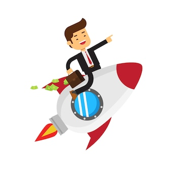 Biznesmen na kosmicznej rakiecie z teczką pełno pieniądze