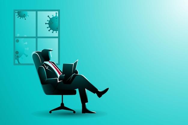 Biznesmen na krześle czyta gazetę z tłem systemu windows podczas pandemii koronawirusa