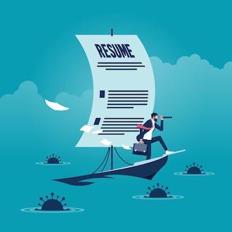 Biznesmen na papierowej łodzi z żaglem wykonanym z cv jako metafora poszukiwania pracy