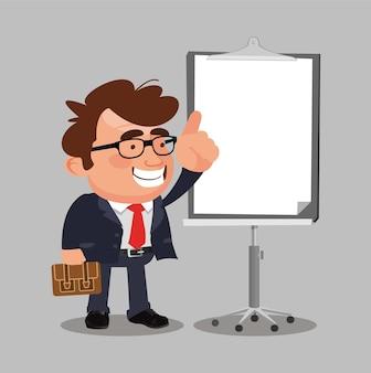 Biznesmen na projekt wektor znaków prezentacji