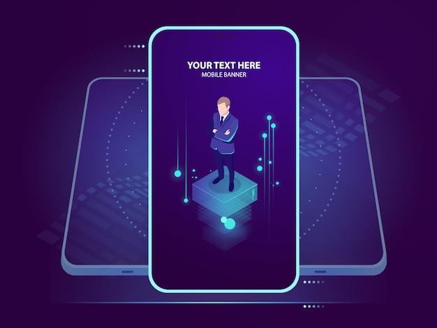 Biznesmen na smartphone ekranie