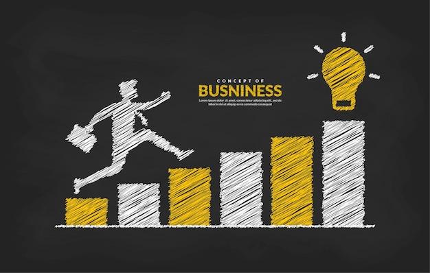 Biznesmen na wykresie przeskakując przez przeszkody do sukcesu koncepcja ryzyka biznesowego i sukcesu