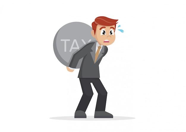 Biznesmen niesie ciężkiego podatek.
