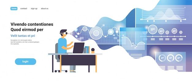 Biznesmen nosić okulary cyfrowe online handlu wirtualnej rzeczywistości monitorowanie finansowych wykres schemat vr wizja zestaw słuchawkowy innowacji koncepcja