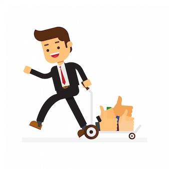 Biznesmen nosić w wózku ogród wiele znaków thumbs up