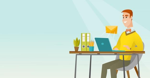 Biznesmen odbiera lub wysyła e-mail.