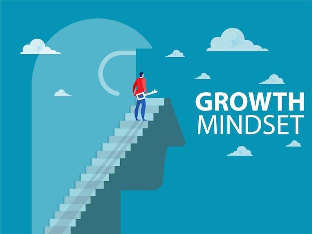 Biznesmen odblokowuje myślenie na głowie człowieka w celu poprawy zachowań, myśl o nastawieniem na wzrost