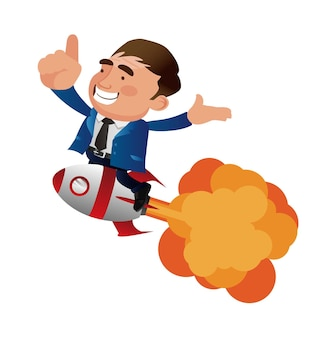 Biznesmen odlatuje z płaskim ilustracji wektorowych jet pack