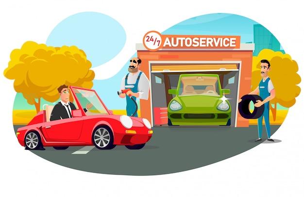 Biznesmen odwiedza serwis samochodowy w celu wymiany koła