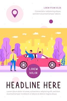 Biznesmen oglądając wesołych facetów jeżdżących na płaskiej ilustracji samochodu