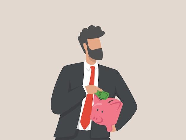 Biznesmen oszczędzania pieniędzy ilustracja koncepcja