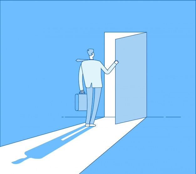 Biznesmen otwiera dostęp