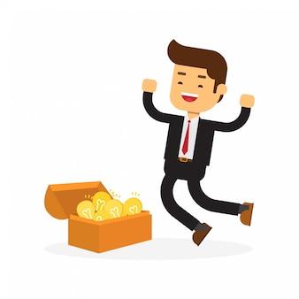 Biznesmen otwierania skrzyni skarbów i odkrywania żarówki pomysł
