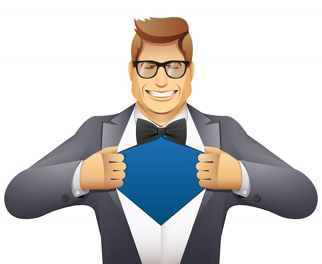 Biznesmen otworzyć jego koszulę. superbohatera