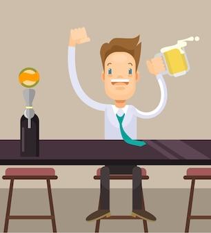 Biznesmen party w piątek płaskie ilustracja