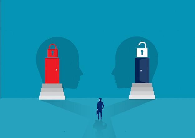 Biznesmen patrząc drzwi dwukierunkowej między nastawieniem wzrostu lub ustalone nastawienie