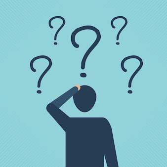 Biznesmen patrząc na znaki zapytania, zamieszanie i symbol koncepcji przyszłych możliwości