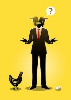Biznesmen patrząc w dół między kurczakiem a jajkiem. kto pierwszy. ilustracja wektorowa