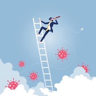 Biznesmen patrząc w przyszłość przezwyciężyć koncepcję wizji biznesowej wirusa koronowego