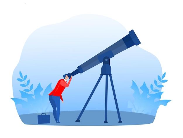 Biznesmen patrzący przez teleskop na przyszłość, wizję, planowanie, ilustrator koncepcji inwestycji