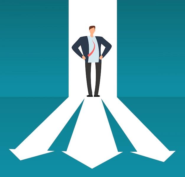 Biznesmen patrzeje ścieżkę z wiele kierunkami. sukces wybór biznesu i inwestycja risque wektor koncepcja