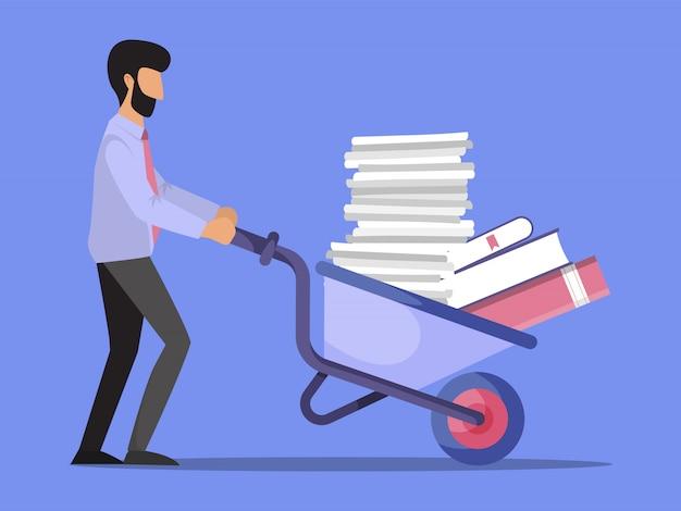 Biznesmen pcha taczki pełno papierowa ilustracja. pracownik biurowy pchanie wózka z dokumentami. stos papierów na taczce.